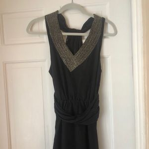 Theory black embellished neck dress
